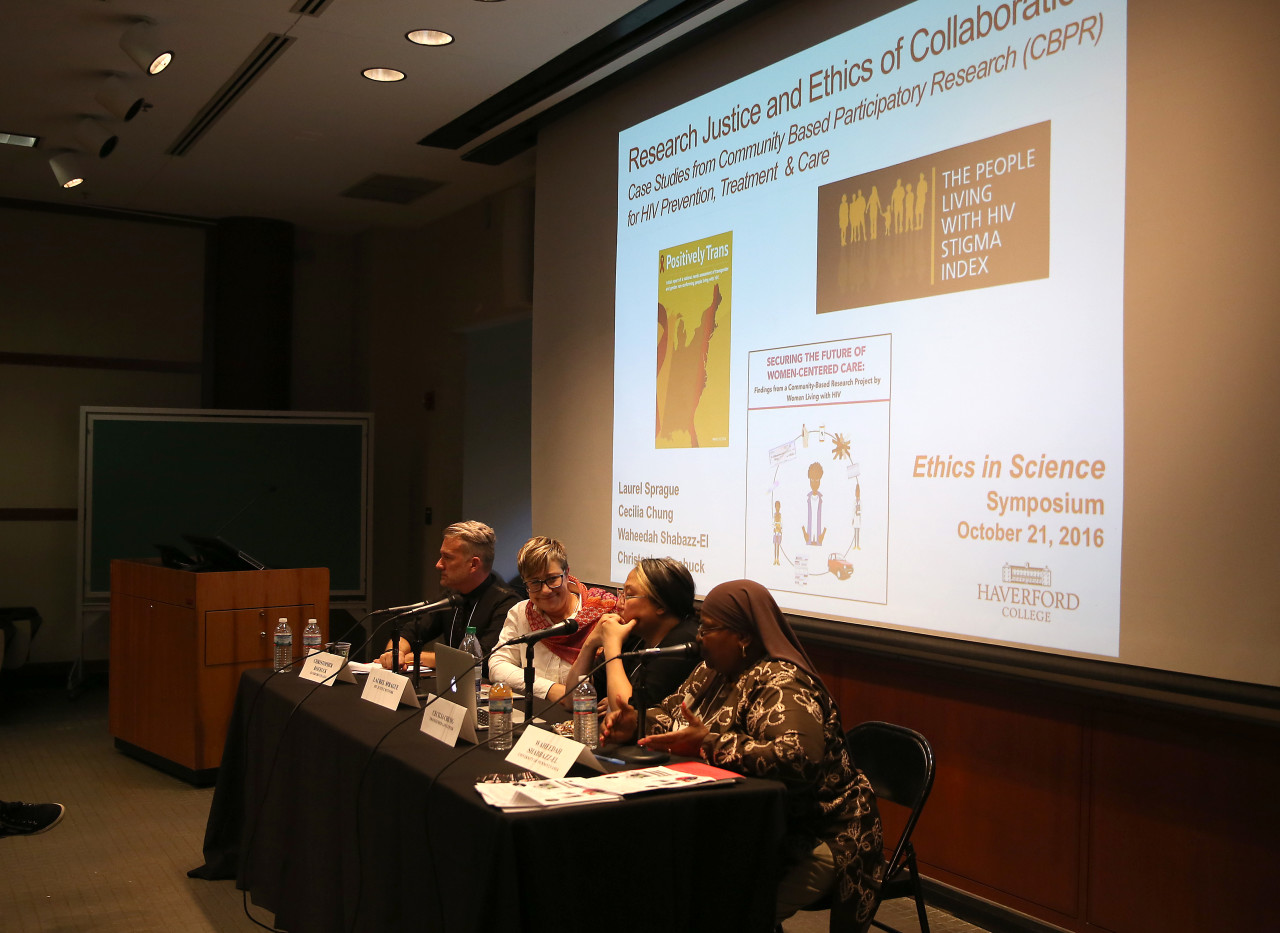 Panelists debate Research Justice and Ethics of Collaboration in HIV/AIDs Science at a Symposium of Scientific Ethics at Haverford College on Friday, October 21, 2016.  Photo by Leigh Taylor