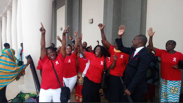 Activists celebrate the passing of the amended HIV/AIDS Bill today in Lilongwe.